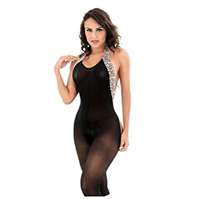 Hot Sale!!Woaills Perspective Underwear Women Leopard Hanging Neck Bodystockings (Free Size, Black)