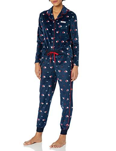 Tommy Hilfiger Women's Long Sleeve Super Soft Minky Fleece Pajama Set, Tommy Flag Heart Navy Blazer, L