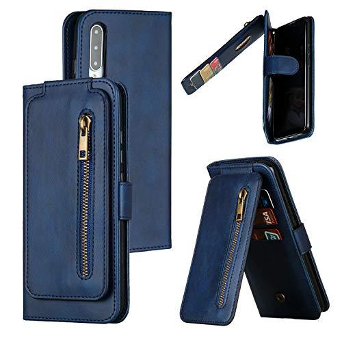 Hülle Handyhülle for Xiaomi Mi A3, Premium Leder Flip Schutzhülle [Standfunktion] [Kartenfächer] [Magnetverschluss] lederhülle klapphülle für Xiaomi MiA3 -TTYKB030329 Blau