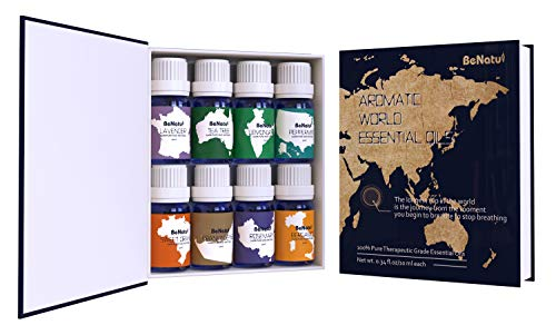 Benatu Essential Oils Set - Lavender, Tea Tree, Peppermint, Lemongrass, Rosemary, Orange, Bergamot, Frankincense - Organic Aromatherapy Top 8 Kit for Diffuser - 10ml