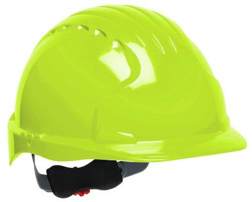 JSP 280-EV6151-LY Evolution Deluxe - Standard Brim Hard Hat With 6 Point Polyester Suspension And Wheel Ratchet Adjustment - Bright Lime/Green
