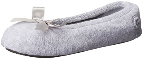 isotoner Women's Terry Ballerina Slipper with Bow for Indoor/Outdoor Comfort, Heather Grey, Large / 8-9 Regular US