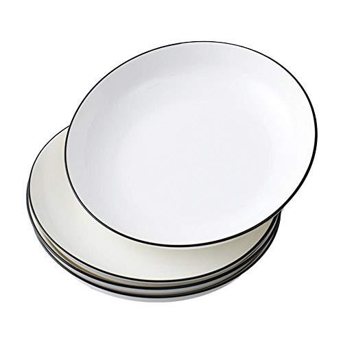Platos Loza,Juego de 4 platos llanos de porcelana auténtica, color blanco, también para pintar, ideales para gastronomía y hogar