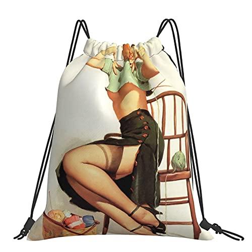 Bolsos Sexy Tejer Pinup Chica Sexy Retro Bola De Hilado Mochila Con Cordón Deportes Bolsa De Gimnasio Para Mujeres Hombres Niñas De Al Aire Libre Yoga Gimnasio Natación Viajes Playa Sackpack Un