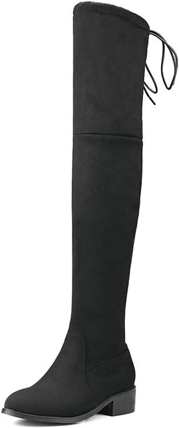 Women Square Low Heel Over The Knee Boots Ladies shoes Stretch Fabric Winter Motorcycle Long Boots