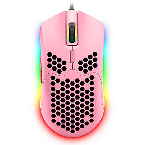 Wired Lightweight Gaming Mouse,6 RGB Backlit Mouse with 7 Buttons Programmable Driver,6400DPI Computer Mouse,Ultralight Honeycomb Shell Ultraweave Cable Mouse for PC Gamers,Xbox,PS4(Red) (Pink)