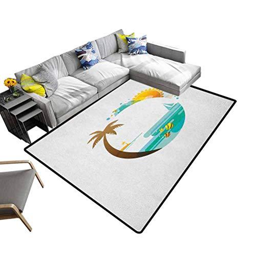 DESPKON-HOME - Alfombra de playa con diseño de palmeras y peces y sol para decoración de guardería, color turquesa y marrón caléndula, 153 x 244 cm