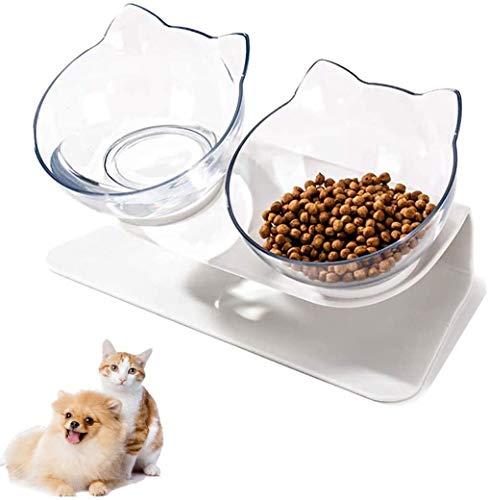 Linseray Fressnäpfe Für Katzen, Katzennapf für Futter Wasser Kreative rutschfeste Basis Futternapf Katzennäpfe Set für Katze Welpe(Weiß)