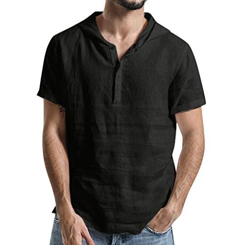 Camisetas con Capucha Rebajas Yvelands Verano de Hombre Baggy Algodón de Lino SOID Color Tops de Manga Corta Camisa de Trabajo(Negro,XXXL)