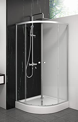 MARWELL Duschkabine Crystal Round Dusche Komplett-Set inklusive Duschtasse Radius 55 cm und 4 mm starkes Einscheiben-Sicherheitsglas, Glasdusche mit Aluminiumprofilen in Silber Seidenmatt