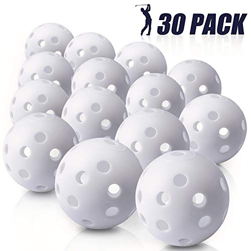 Biilaflor 30 Pack Polyurethane White Plastic Golf Balls – Bulk Set of Golf Balls for Swing Practice, Backyards, Indoor Simulators and Golf Driving Range