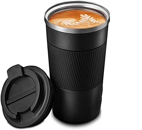Travel Mug Reusable Coffee Cups Thermal Insulated Vacuum Insulation Stainless Steel Bottle for Hot Cold Drinks(Black, 510mm)