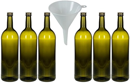 mikken 6 x Glasflasche 1 Liter Farbe Antik, grüne Flasche mit Schraubverschluss inkl. Trichter