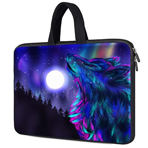 "14 inch Neoprene Laptop Case Sleeve for Lenovo Ideapad 3 14/Yoga C740 C940/Flex 5 14"", Dell Inspiron 14 5000 7000, HP Pavilion x360 14"", Asus Chromebook Flip 14 Laptop Handle Bag, Colorful Wolf"