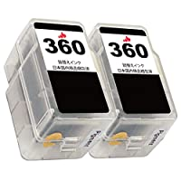 BC-360(顔料BK)×2 2本セット Canon用 キャノン互換エレスタ製詰め替えインク◆1年保証・残量表示・日本国内梱包検品・QR説明書◆対応機種: PIXUS TS5330 BC-360