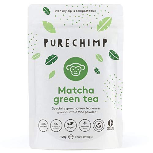 Matcha Tea Powder 100g by PureChimp - Ceremonial Grade from Japan - Pesticide-Free