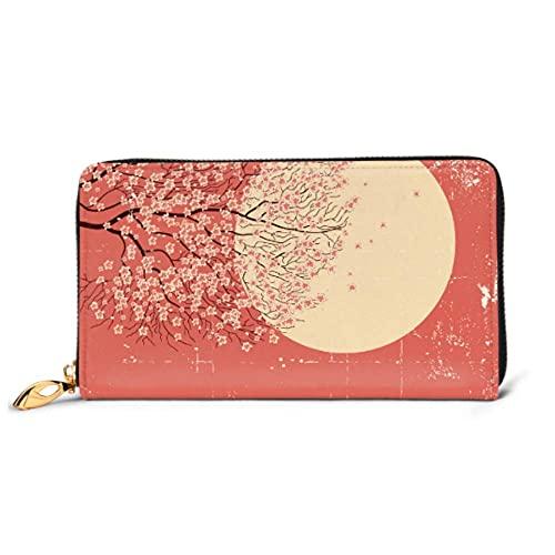 Ahdyr Fashion Handbag Zipper Wallet Sakura Ramas Hermoso teléfono Embrague Monedero Tarde Clutch Bloqueo Cartera de Cuero Multi Ca