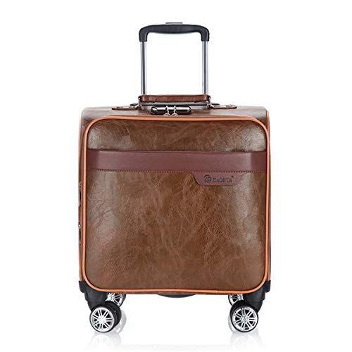 fosa1 Hand Luggage Trolley case PU Leather Retro Business Casual Boarding, Men's And Women's Suitcase, Universal Wheel Trolley Case Oil Lock Box 18 Inch Brown