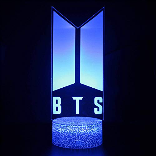 BTS Luz de Noche LED Ilusión 3D Lámpara de Mesa de Cabecera 16 colores Cambiando con el Botón de Tacto Inteligente Iluminación decoración Dormir Lámpara