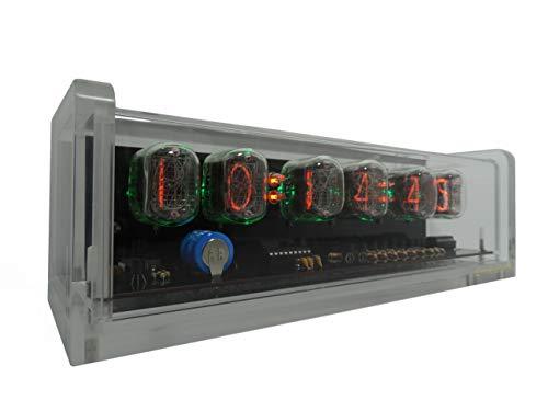 CHRONIX Vintage Nixie Tube Uhr mit 6 x IN-12 Displays & Wecker, grüner Hintergrundbeleuchtung & Acrylgehäuse
