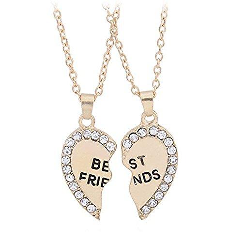 Vi.yo Beste Freundin Halskette für 2 Herzförmiger Anhänger Lange Kette Charm Halskette für Memorial Friendship Elegantes Geschenk Edelstahl Simulierter Diamant (Golden)