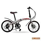 PLENTY Bicicleta Plegable Ligera Portatil RIN 20 Shimano 7 Velocidades Color Plata