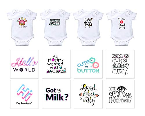 EKOI Iron on Baby Transfers for Baby Shower - Cute Appliques Decals Patches Fun Phrase Quotes Words for Babies Bodysuit Clothes Toddler Boy Girl Clothing Decorating Kit (12 Designs Sets)