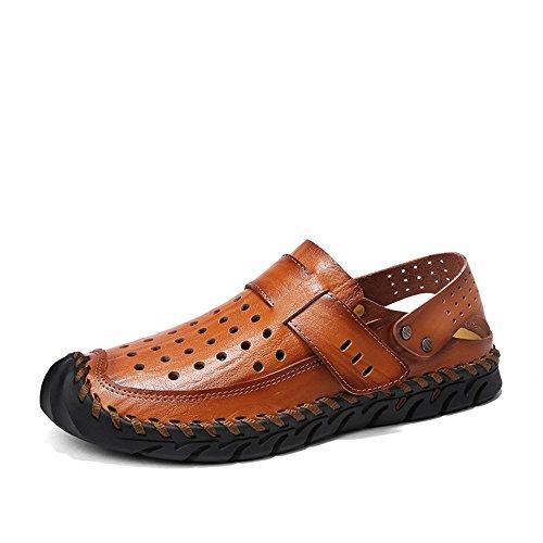 Lpinvin - Sandalias para hombre de piel, para verano, para exteriores, con dedos cerrados, transpirables, para la playa, antideslizantes, color marrón, talla: 41