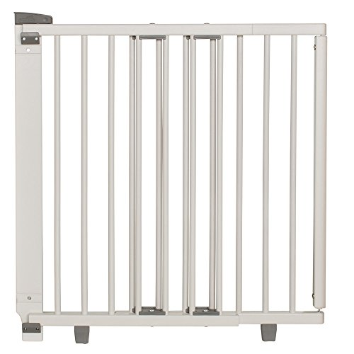 Geuther - Treppenschutzgitter ausziehbar 2732+, für Kinder/Hunde, Türschutzgitter zum bohren, Holz, weiß, 58 - 105 cm, TÜV zertifiziert
