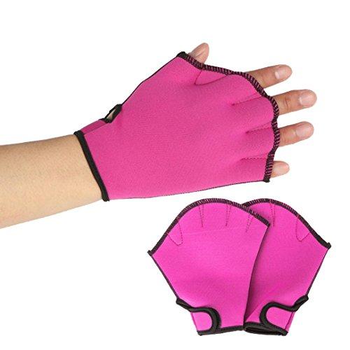 Trada Tauchen gewebter Handschuhe, Schwimmen Surfen Schwimmhäute Handschuhe Training Flossen Handpaddel Surfen Schwimmen Aquatic Übung Wasser Widerstand Fingerlose Schwimmen Hand (S, Hot pink)