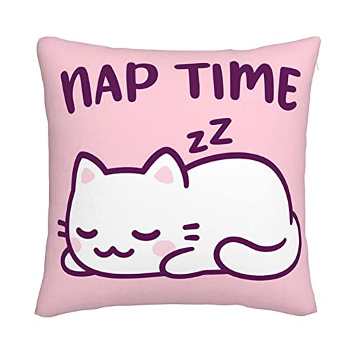 Mxswru Kawaii - Funda de cojín de terciopelo con diseño de gato decorativo cuadrado para cama y sofá con cremallera invisible