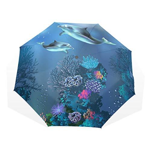 XiangHeFu Regenschirm Dolphin Ocean Fisg 3 Folds Lightweight Anti-UV