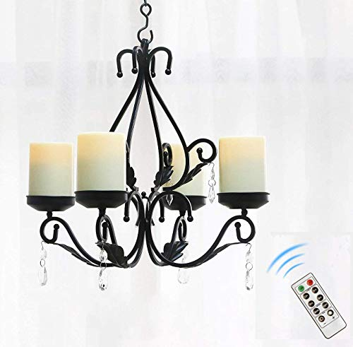 simpdecor Lighting Candles Candelabra Chandelier Chain Hang Metal Wall Pendant Candle Holder Sconce with 4pcs Battery Operated Led Candle with Remote, Black