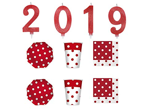 PARTY STORE WEB BY CASA DOLCE CASA Happy New Year Kit Rouge Bougies 2019 décorations fête Nouvel an cenone – CDC- (1 Set 4 Bougies 2019 Rouges, 20 Assiettes, 20 gobelets, 20 Serviettes)