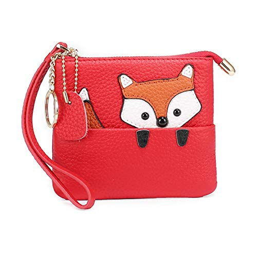 YXFYXF Charming Lovely Design Fox Coin Purse Ladies Leather Change Wallet Coin Pouch Key Bag with Key Chain Coin Purse Bag (Color : Green, Size : 13x12x1.5cm) (Color : Red, Size : 13x12x1.5cm)