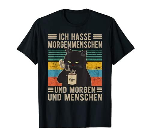 Ich hasse Morgenmenschen und Morgen und Menschen Katze T-Shirt