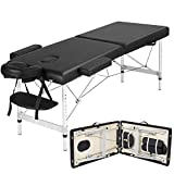 Yaheetech Portable Massage Table Lightweight Folding Facial Spa Bed Tattoo Beauty Therapy Couch Bed w/Carry Bag Black Aluminium 2 Sections