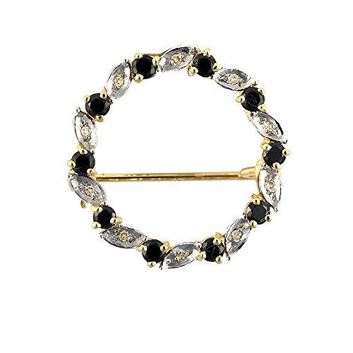 Ivy Gems 9ct Yellow Gold Sapphire and Diamond Garland Brooch