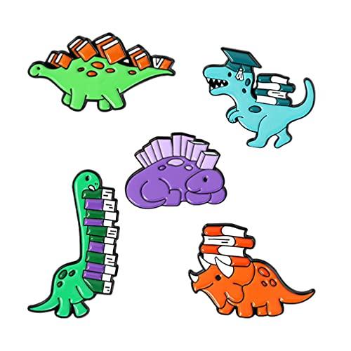 Holibanna 5Pcs Nette Dinosaurier Brosche Emaille Pins Cartoon Jurassic Dinosaurier Abzeichen Revers Dekorative Tier Push- Pins für Kinder Rucksäcke Kleidung Jacken Zubehör
