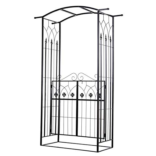 Outsunny Metal Garden Arch/Trellis with Two 4-Leaf Clover Doors, Perfect for Your Vine Garden, Weddings, Social Events