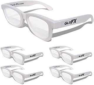 GloFX Standard Diffraction Glasses – White (5 Pack) - Rave Glasses - 3D Prism Firework Grating