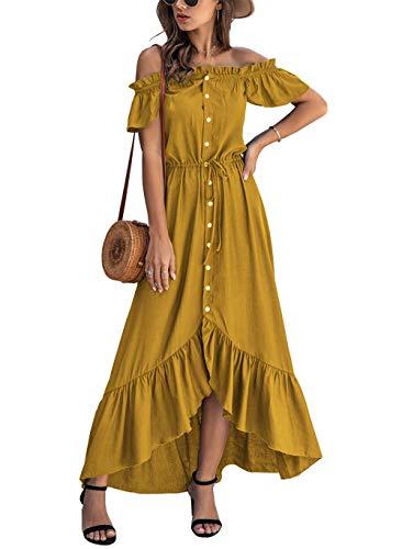 KIRUNDO 2021 Summer Women's Off Shoulder Maxi Dress Polka Dots Short Sleeves High Waist Pleated Long Dresses with Belt (X-Large, Yellow 2)