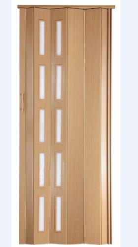 Falttür Schiebetür Tür Kunststofftür buche farben mit Schloß/Verriegelung Fenster blickdicht Höhe 202 cm Einbaubreite bis 94 cm Doppelwandprofil Neu