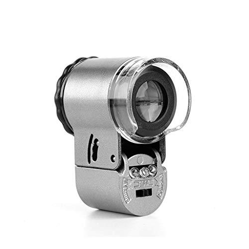GRPBZ HONGHONG Metal HD Lupa de lupa50x HD Iluminada Portátil Mini microscopio Evaluación | Código de Productos: LJW-325