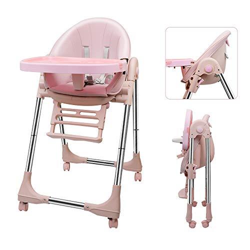 OUNUO Trona para Bebe Evolutiva, Trona para bebés con bandeja extraíble, Ajustable y Plegable con 4 ruedas, crece con el niño 0 meses - 6 años,Segura-Rosa
