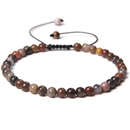 shangwang - Pulsera de perlas de 4 mm con piedra natural perlada trenzada para mujer, hombre, moda de cuarzo y cristal perlado, regalo mexicano ágata