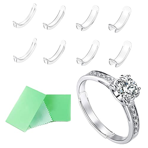 Invisible Ring Size Adjuster for Loose Rings Ring Adjuster Sizer Fit Thin Rings with Jewelry Polishing Cloth