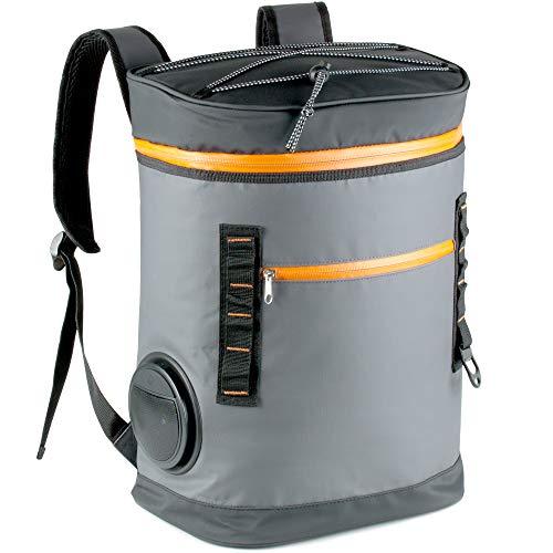 TROIKA Kühlrucksack mit Wireless Lautsprecher | auslaufsichere 20 Liter Kühltasche (28 Dosen) | Flaschenöffner | Outdoor Fun Equipment für Deinen Party-Sommer | Speaker herausnehmbar