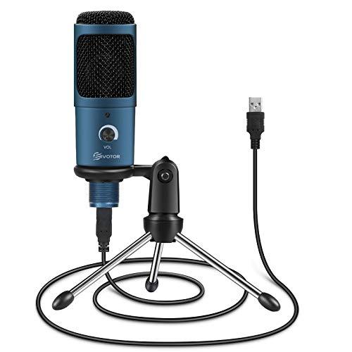 EIVOTOR USB PC Mikrofon Computer Microphone Desktop Mikrofon Kondensatormikrofon Aufnahme Mikrofon mit Stativ Lautstärkeregelung Plug & Play Laptop Mikros für Gaming Streaming YouTube Skype Podcast