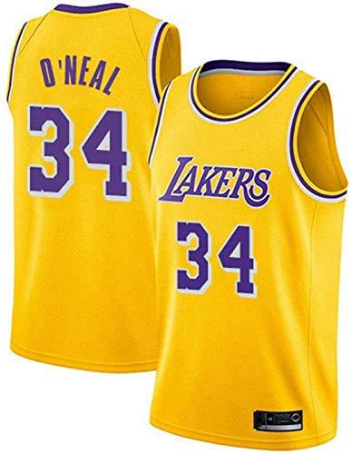 ZMIN Jersey de Baloncesto para Hombre Lakers 34# O'Neal NBA Jerseys - Unisex Chalecos Casuales Deportes Tops sin Mangas Camisetas,Amarillo,L 175~180cm